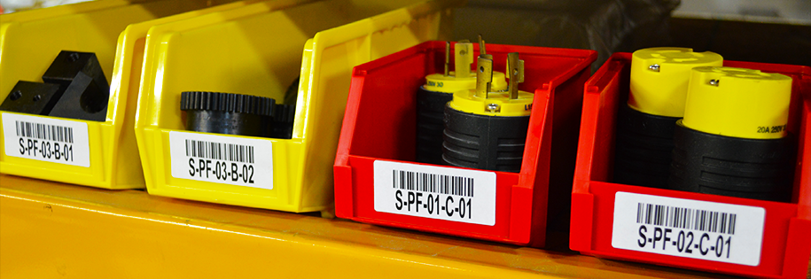 Custom bin labels with barcode